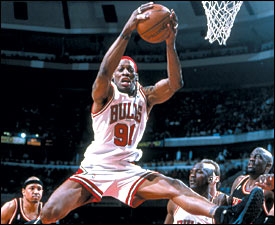 """The one thing I do that nobody else does is jump three and four times for one rebound."" - Dennis Rodman"